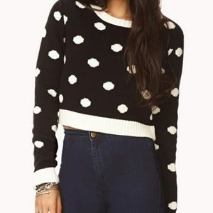 Forever 21 Polka Dot Crop Top Sweater Large